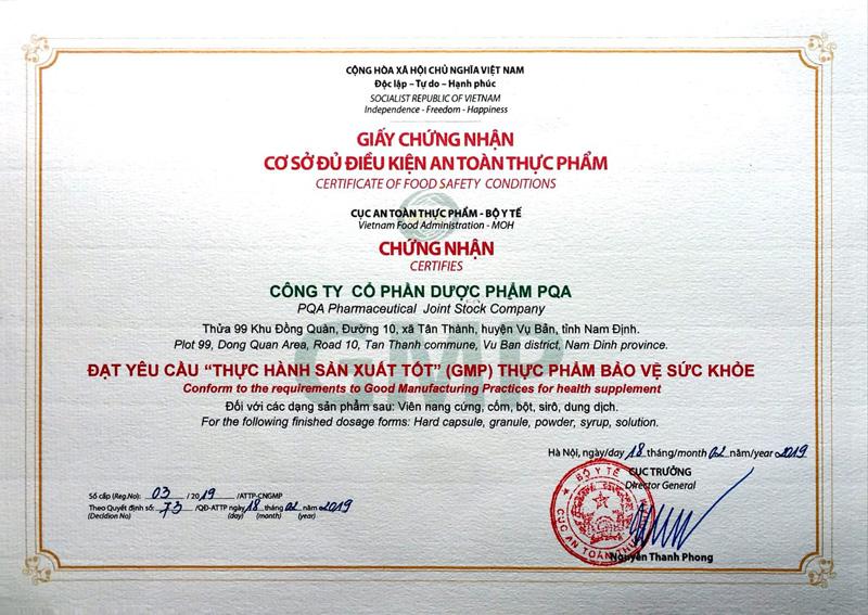 Giấy chứng nhận sản phẩm PQA